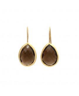 silver Smoky Quartz Gold Polishing Earring