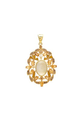 925 Sterling silver Cabochon Golden Rutile & Cut Stone Citrine Pendant with Gold Polish & Enamel
