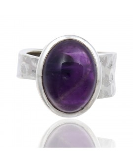 925 Sterling silver Cabochon Amethyst Rings