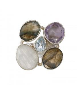 925 Sterling silver Amethyst, Blue topaz, Labradorite & Rainbow moonstone Rings