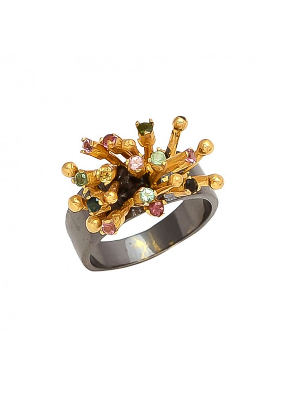 925 Sterling silver Tourmaline Rings with Black Rhodium