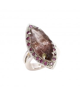 925 Sterling silver Cabachon Moss Amethyst & Tourmaline Rings