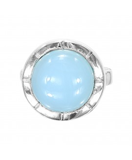 925 Sterling silver Cabochon Aqua Chalcy Rings
